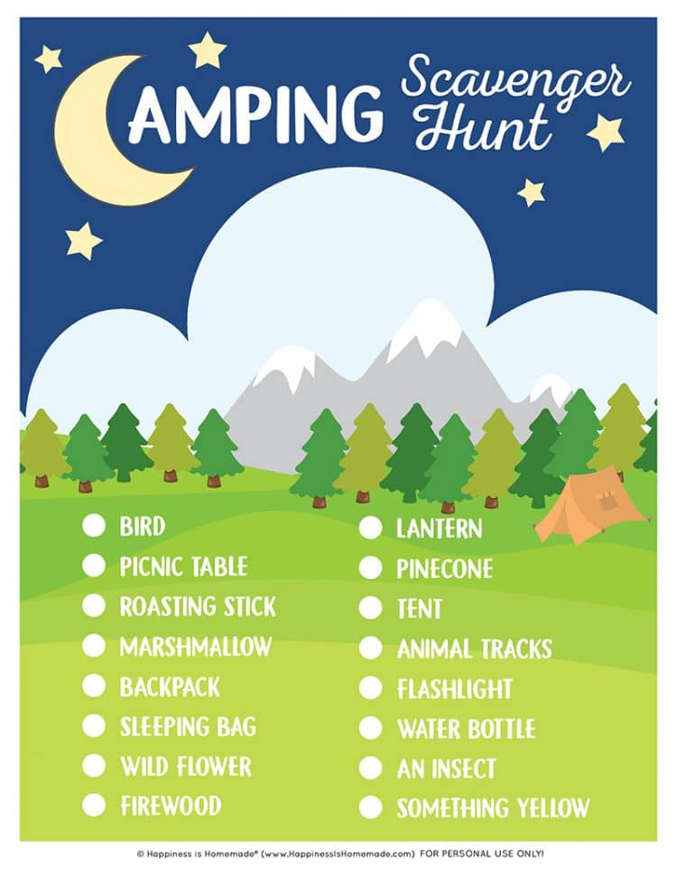 Printable Camping Scavenger Hunt Game with list of items to find