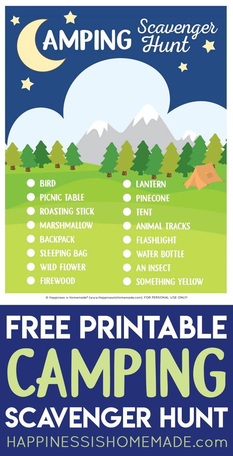 """""""Free Printable Camping Scavenger Hunt"""" graphic with text"""
