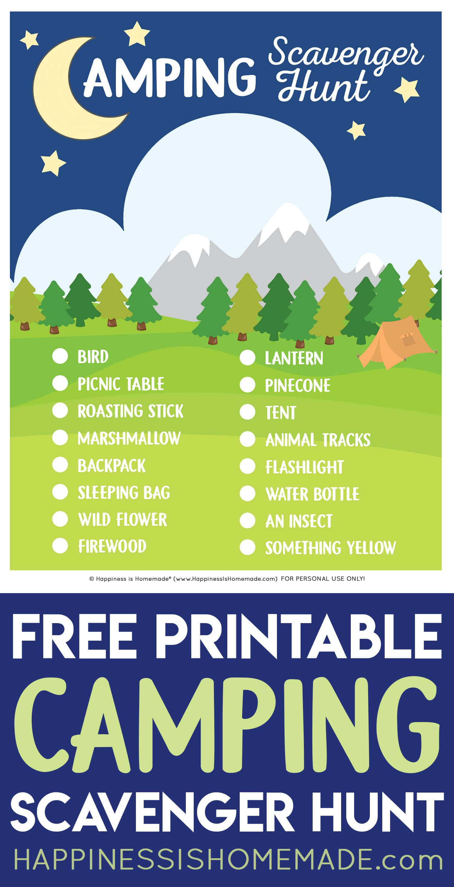 """Free Printable Camping Scavenger Hunt"" graphic with text"