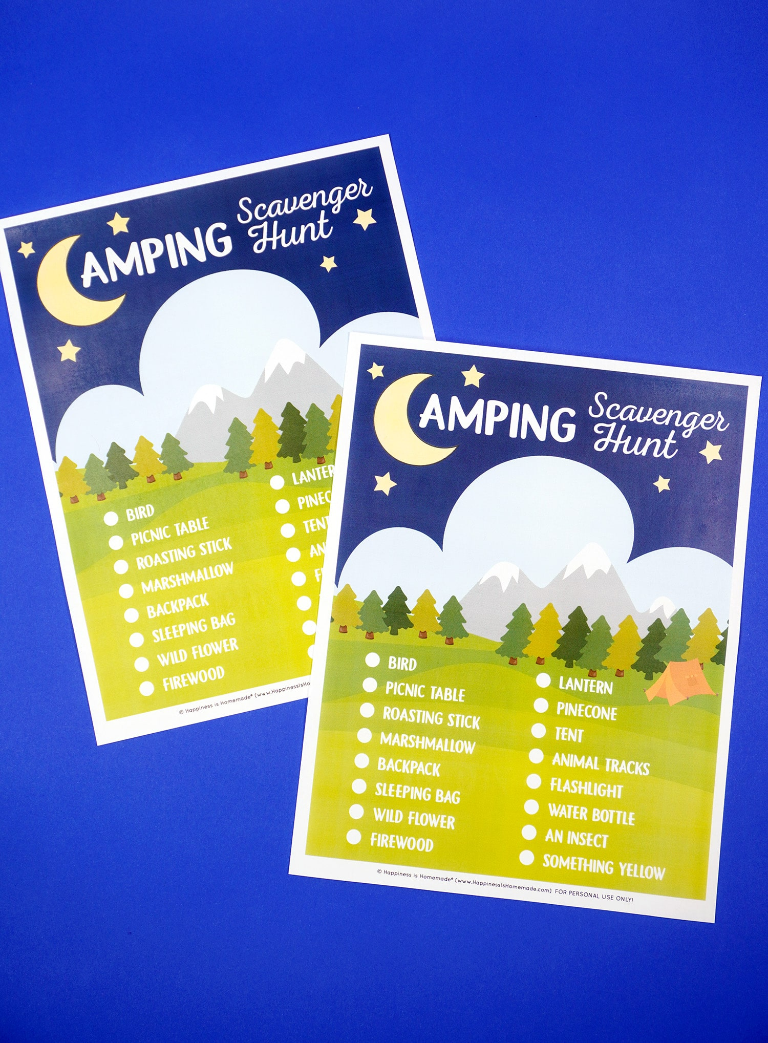 Two printable Camping Scavenger Hunt games on a blue background