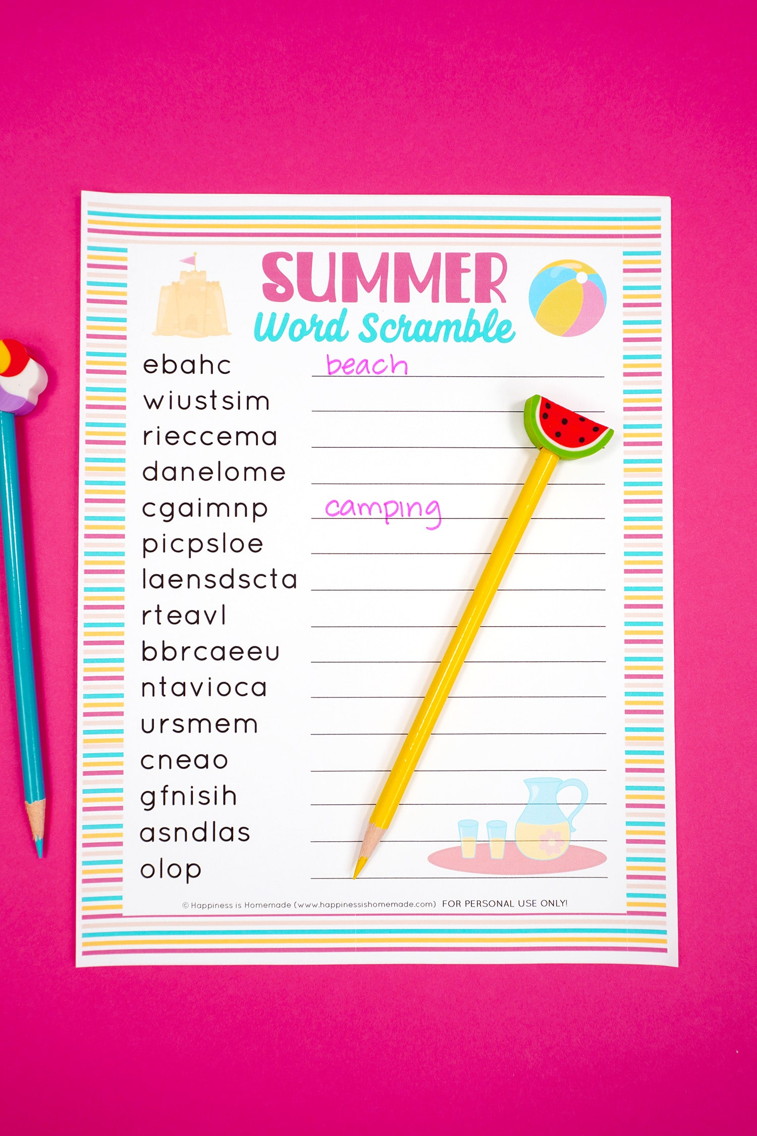 """Summer Word Scramble printable on pink background with """"beach"""" and """"camping"""" unscrambled with yellow pencil and watermelon topper"""