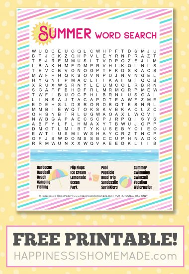 "Summer word search with the text, ""Free Printable!"""