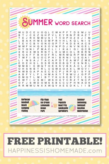 """Summer word search with the text, """"Free Printable!"""""""