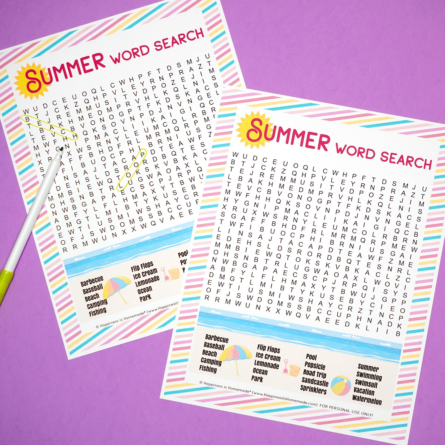 Two Summer Word Search printables on a purple background with green marker