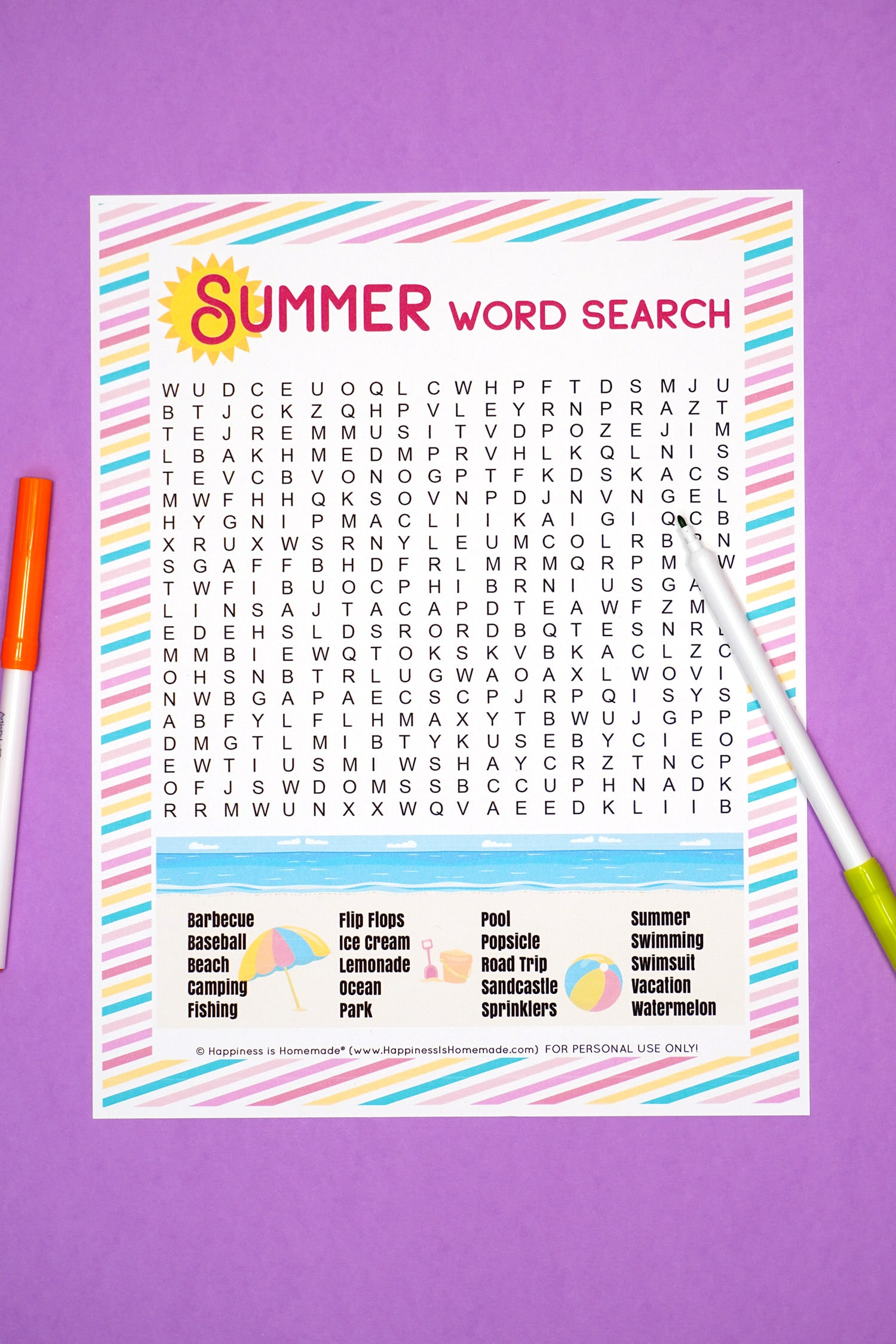 Summer Word Search printable on purple background with orange and green markers