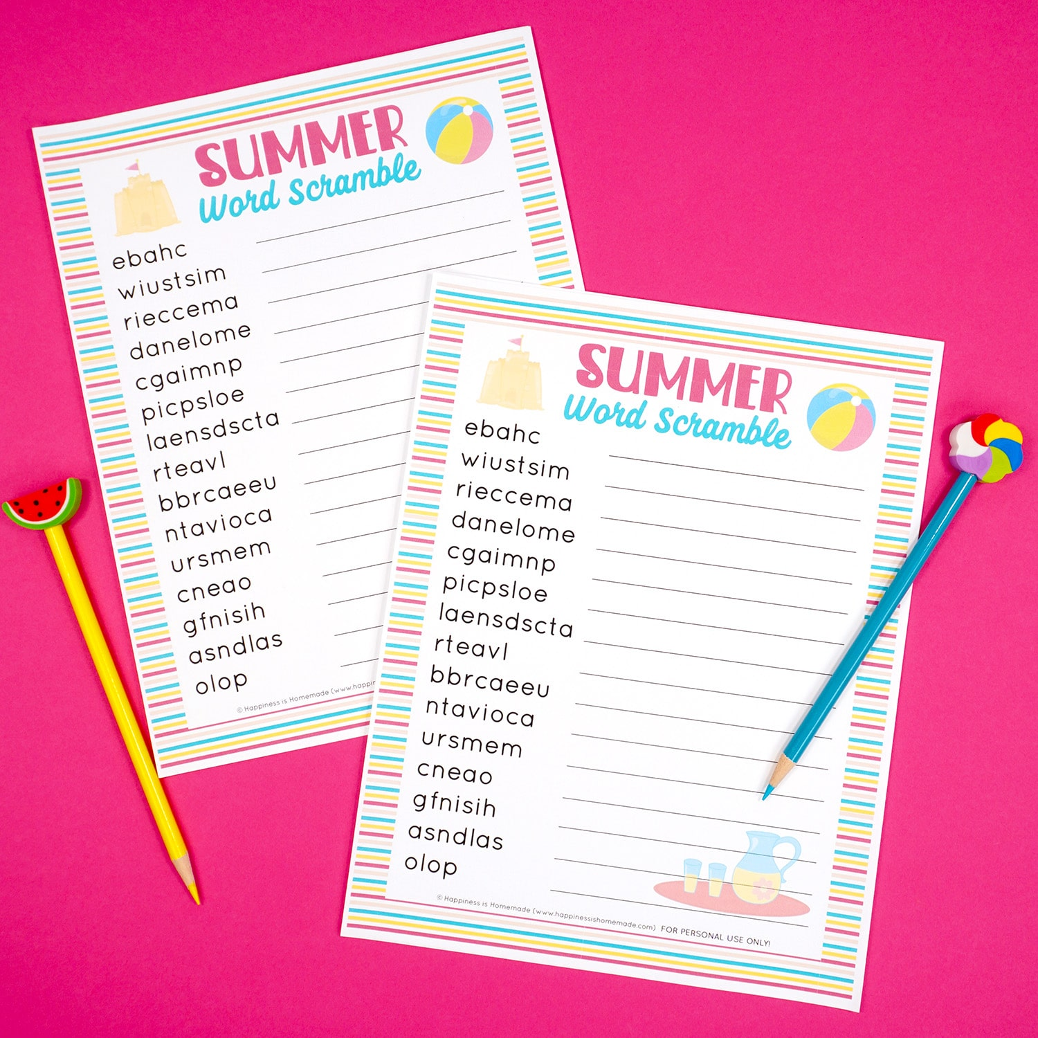 Two printable summer word scramble games on a pink background with yellow watermelon pencil and blue pencil