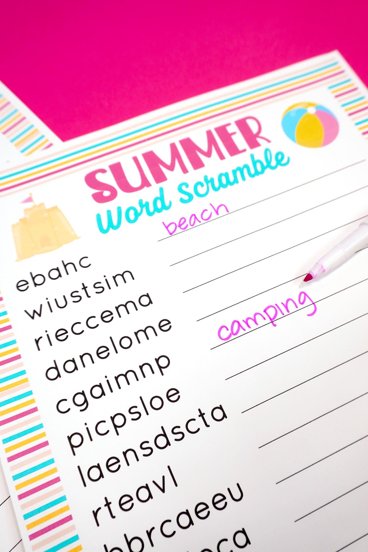 """Summer word scramble printable with """"beach"""" and """"camping"""" unscrambled with pink pen"""