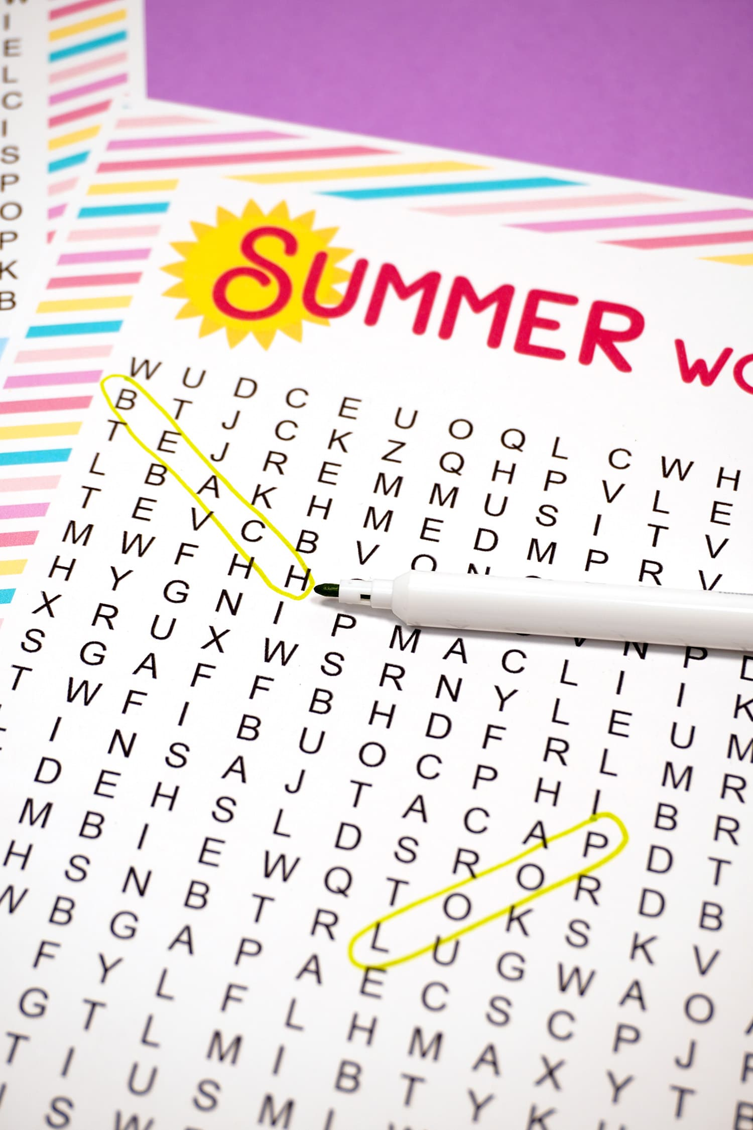 """Printable Summer Word Search with """"Beach"""" circled in green marker"""