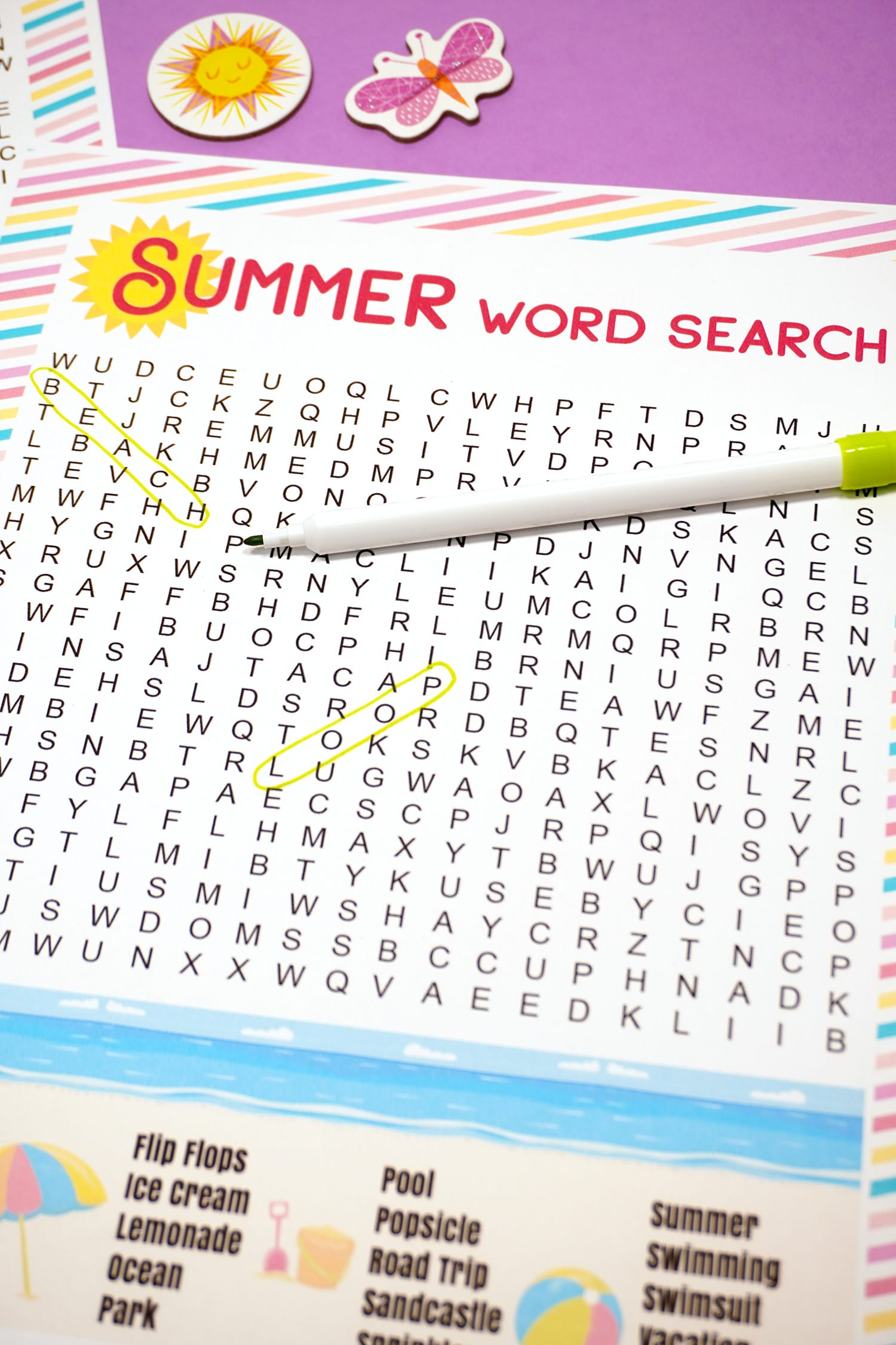 """Summer word search printable with """"Beach"""" and """"Pool"""" circled in green marker"""