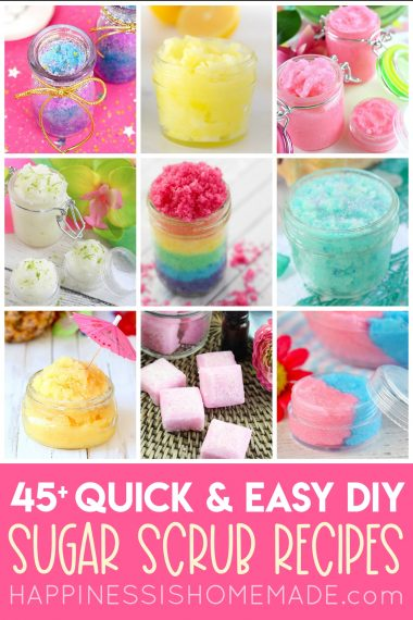 Collage of different types of DIY sugar scrubs
