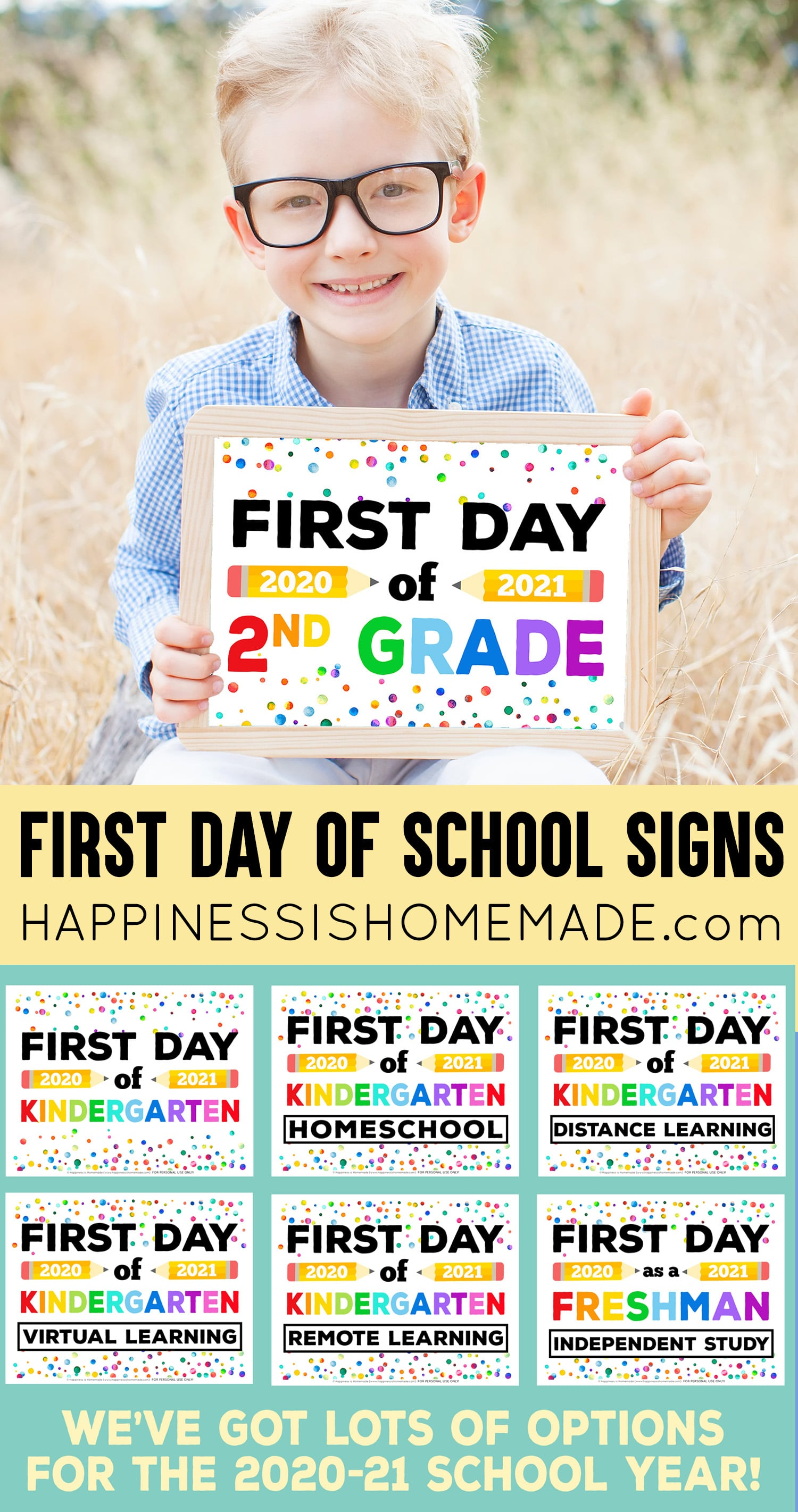 Free printable first day of school signs - distance learning, homeschool, virtual learning, independent study, remote learning, etc. collage