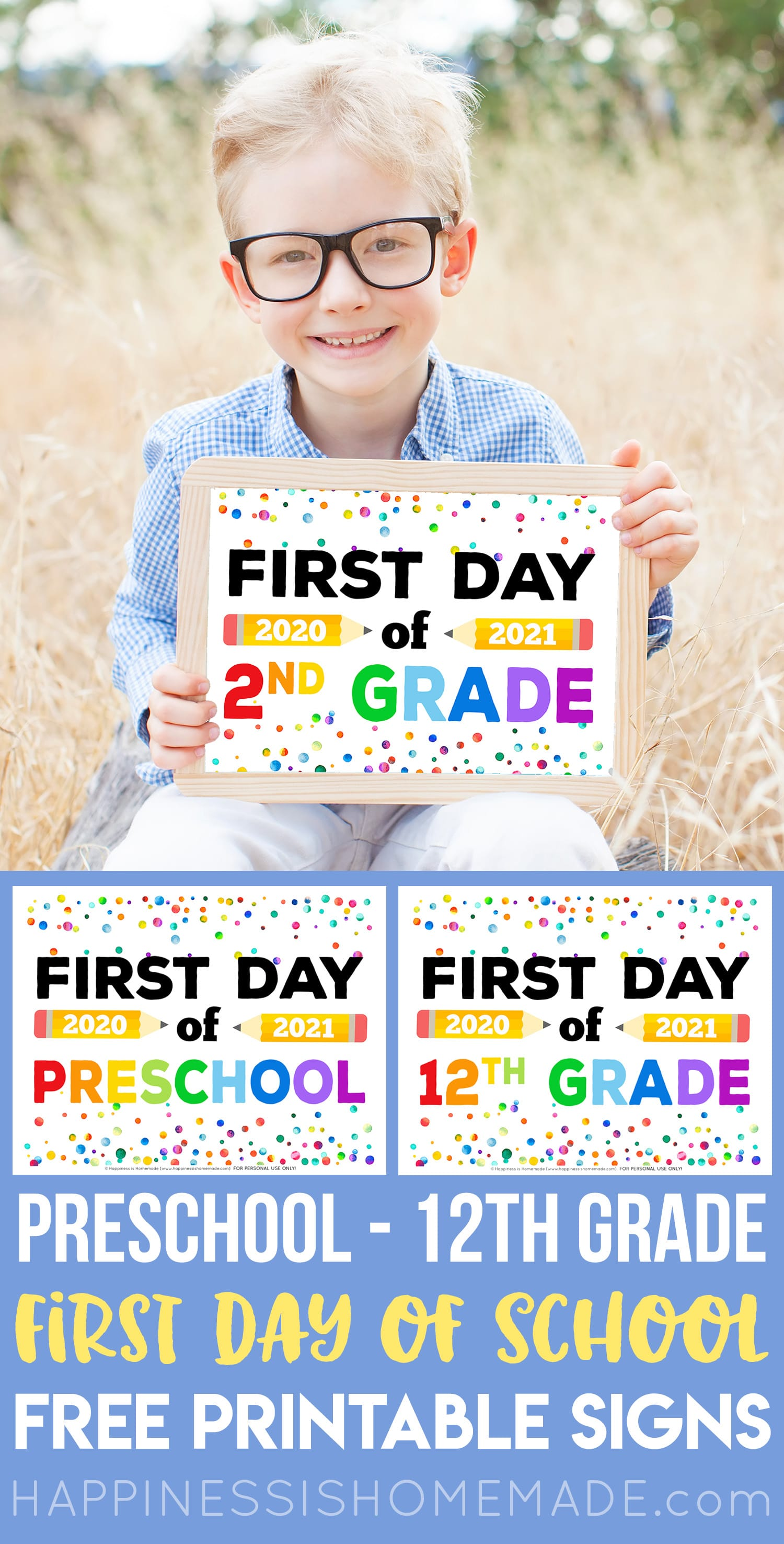 "Boy with free printable ""First Day of School 2020"" sign - first day of 3rd grade"