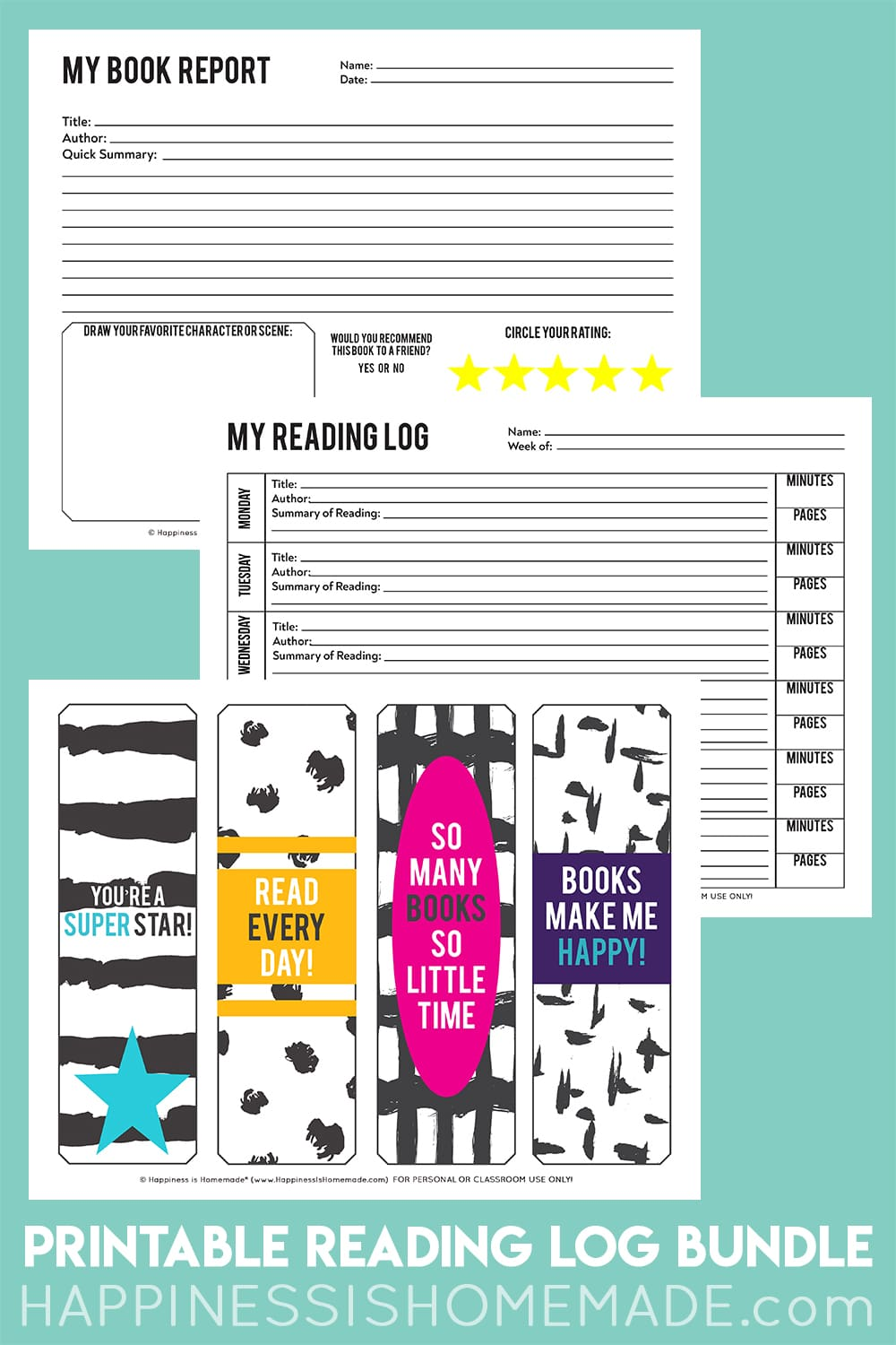 Reading Log and Book Report Pack for Homeschool
