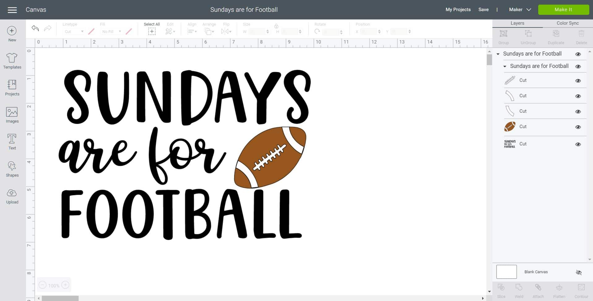"Screenshot of ""Sundays are for Football"" design in Cricut Design Space software"
