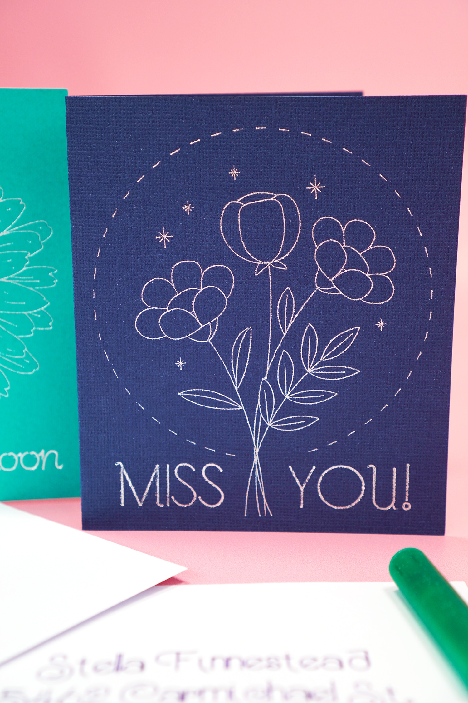 """Navy blue """"Miss You"""" card with silver foil"""