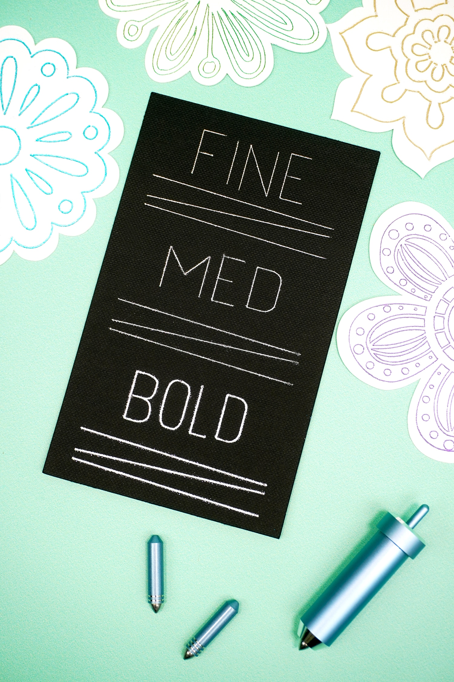 """""""Fine, Med, Bold"""" lines and text in silver on black background on mint green background with foiled flowers"""