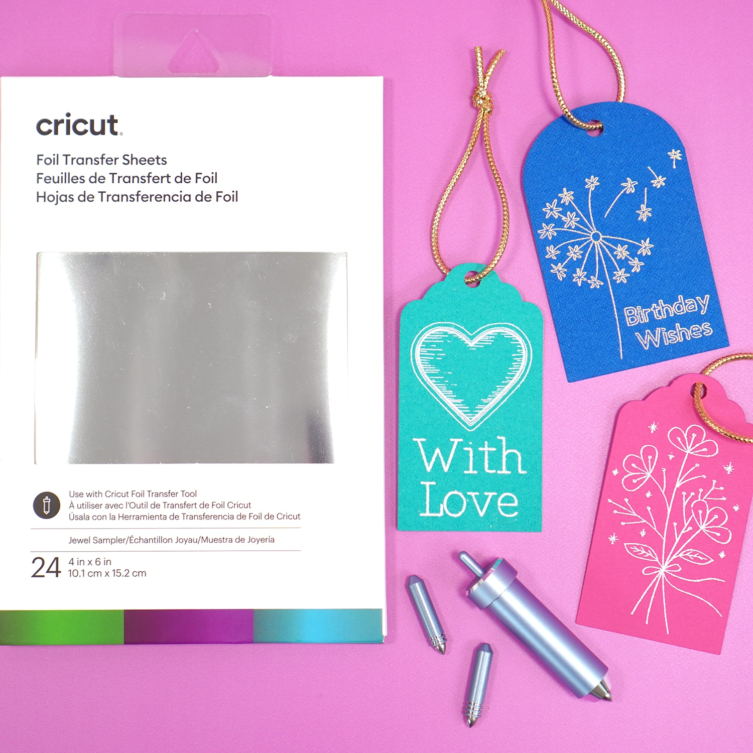 Cricut Foil Transfer System - Tools Foil Sheets and Tips with Foil Gift Tags