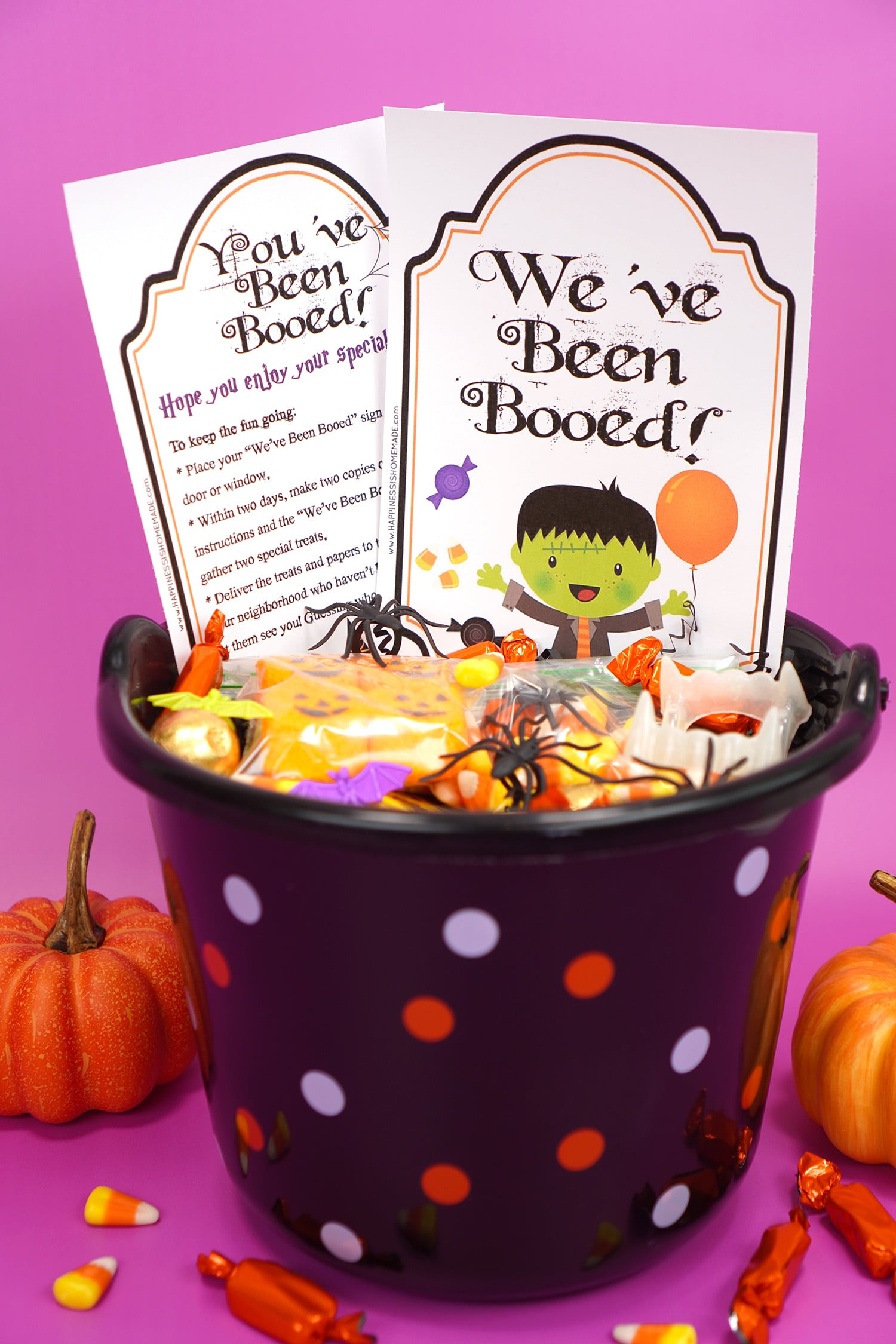 "Boo Basket filled with Hallowen candy and novelty toys with ""You've Been Booed""and "" We've Been Booed"" printable signs on purple background with pumpkins and candy corn"