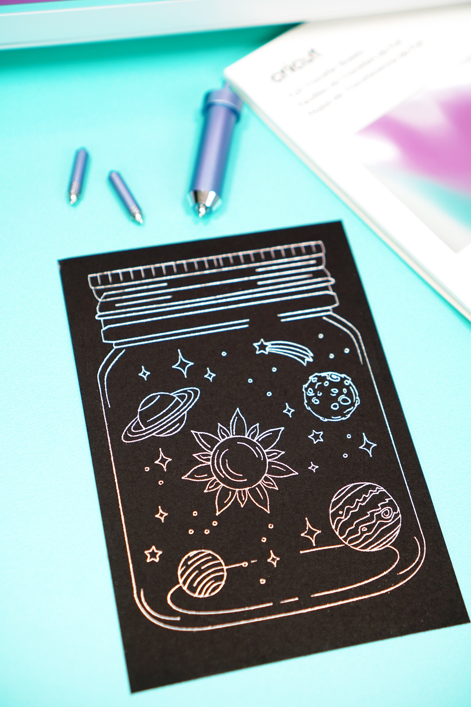 Galaxy in Jar Foiled Print with Cricut Foil Transfer System Tools