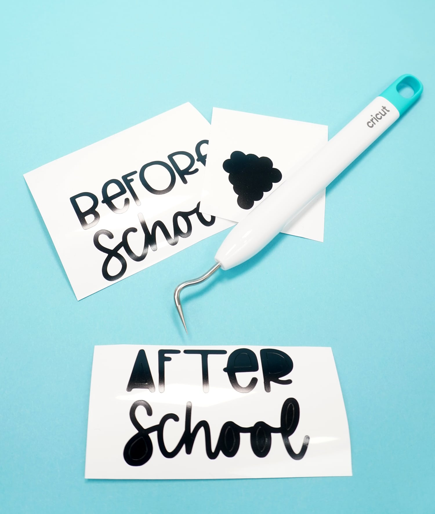 """Before School"" and ""After School"" vinyl with Cricut weeding tool on blue background"
