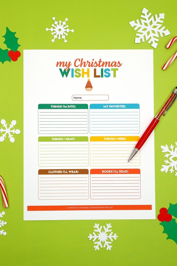 Printable Christmas Wish List for Kids & Adults   Happiness is