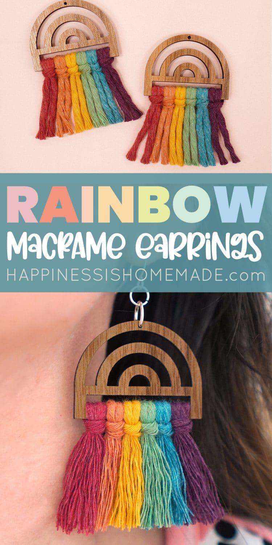 Cute Rainbow Macrame Earrings pin