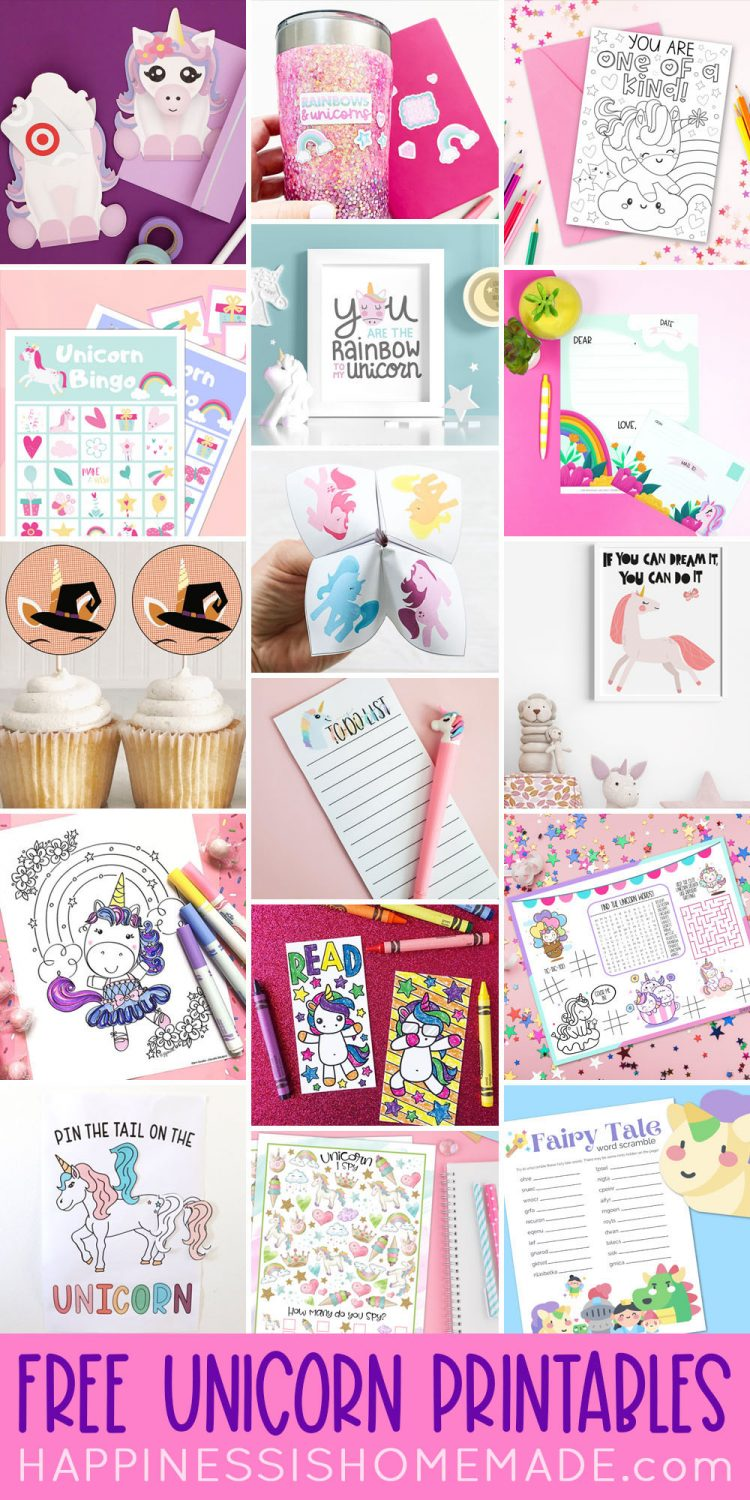 Collage of Free Unicorn Printables