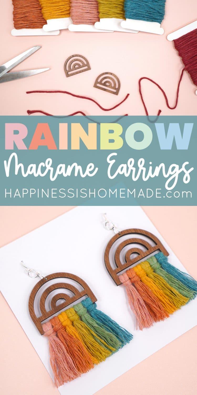 How to Make DIY Rainbow Macrame Earrings pin