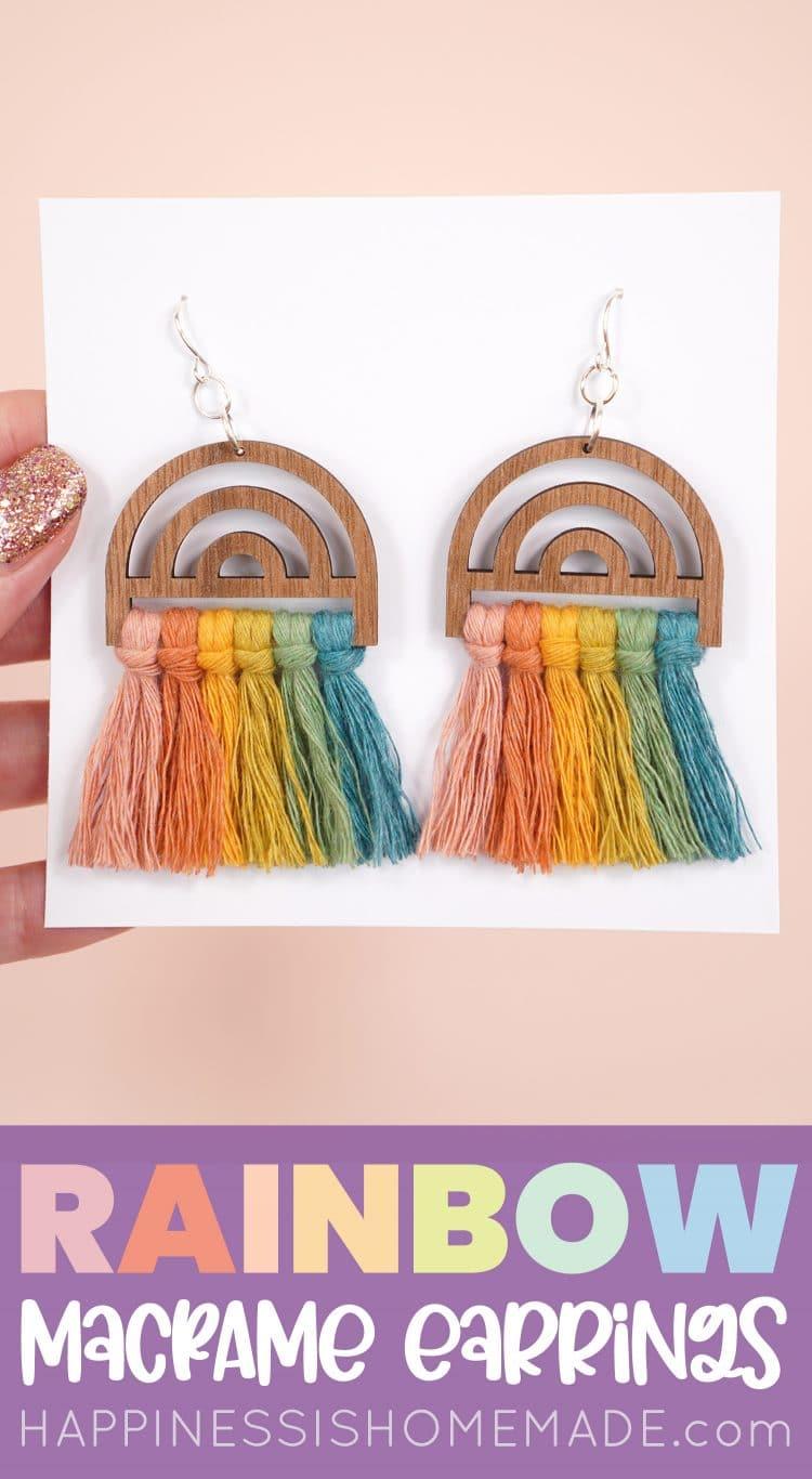 Macrame Earrings - Wood Rainbow Earrings pin