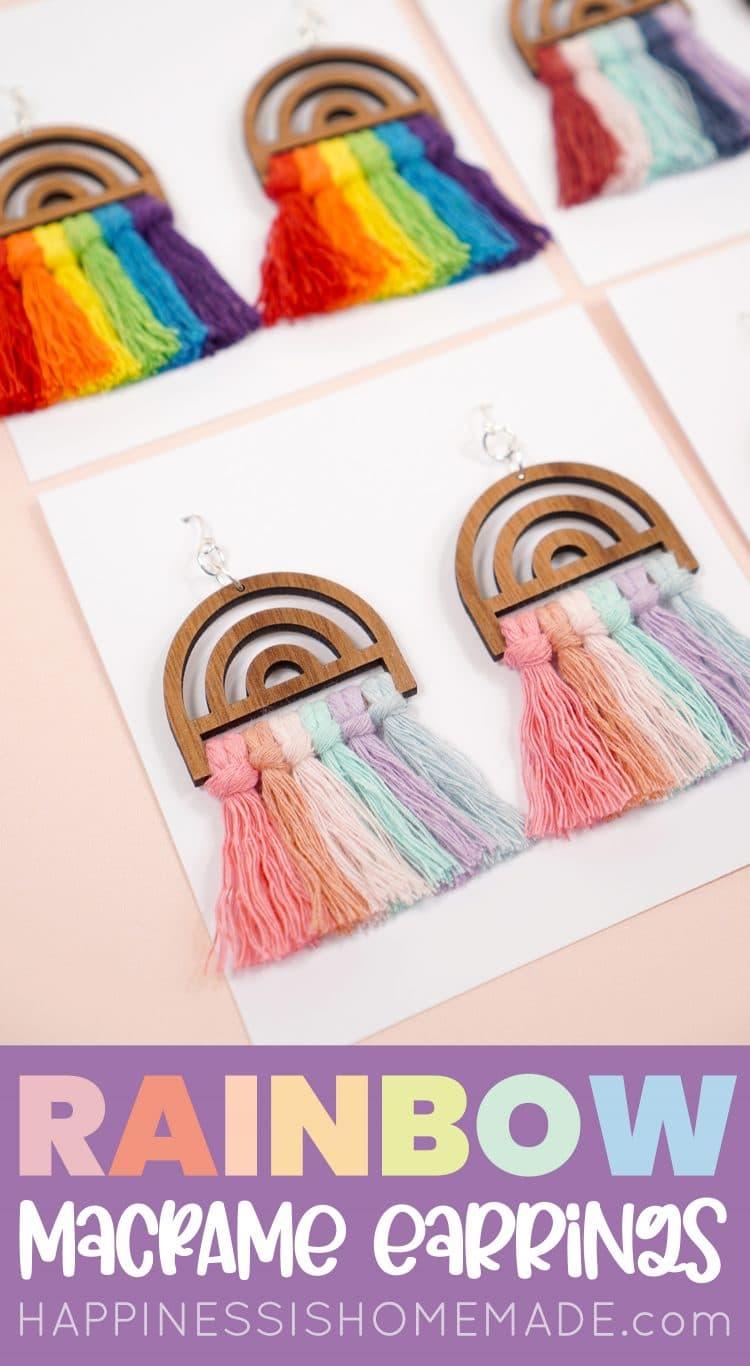 Rainbow Earrings with Macrame Cord Pin