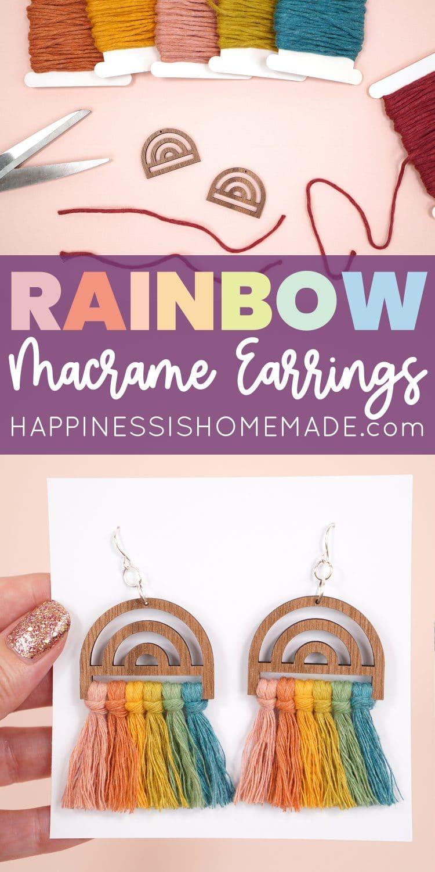 Rainbow Macrame Earrings Tutorial Pin