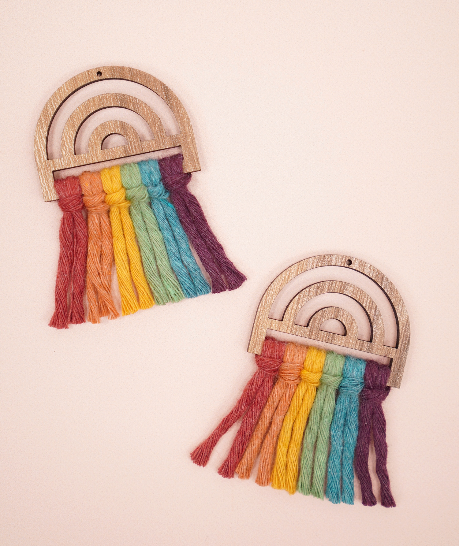 Unbrushed Rainbow Macrame Earrings in Wood Frames on peach background