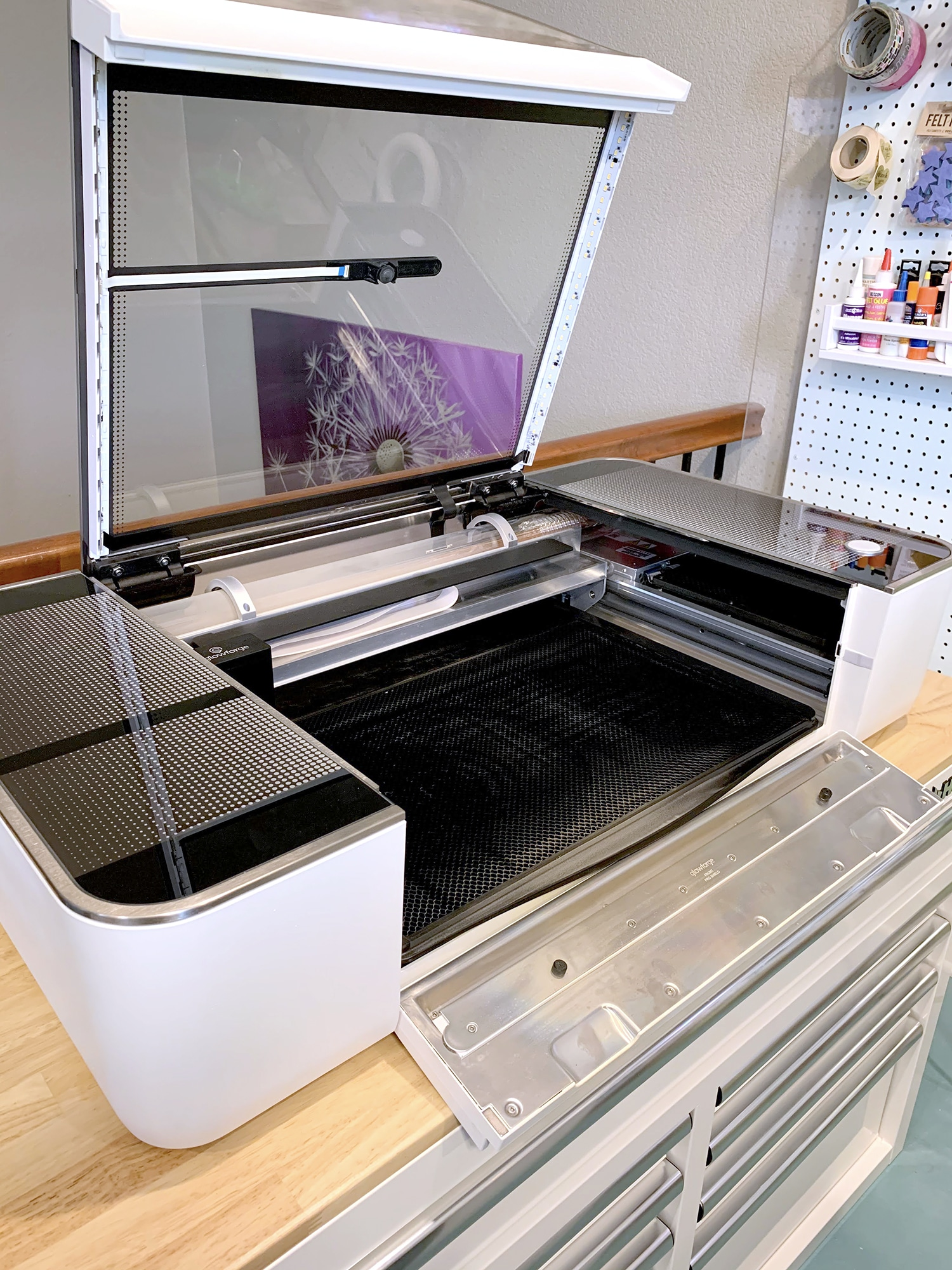 Glowforge Pro with open top lid and front