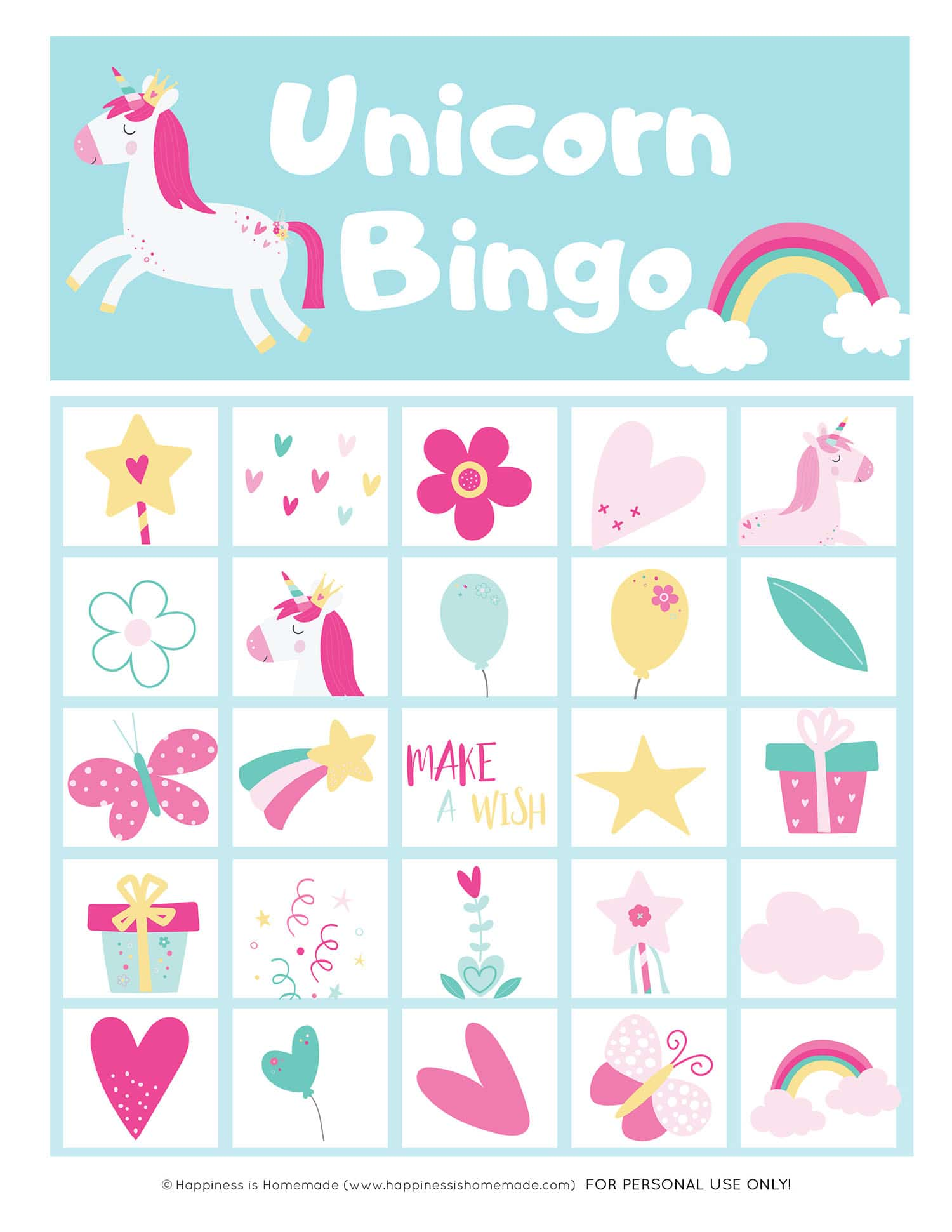 Printable Unicorn Bingo Card - single card graphic