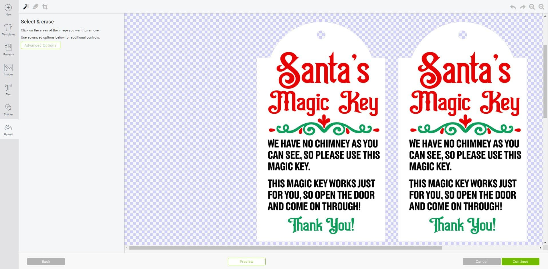Cricut Design Space software screenshot showing Santa's Magic Key printables being saved with a transparent background
