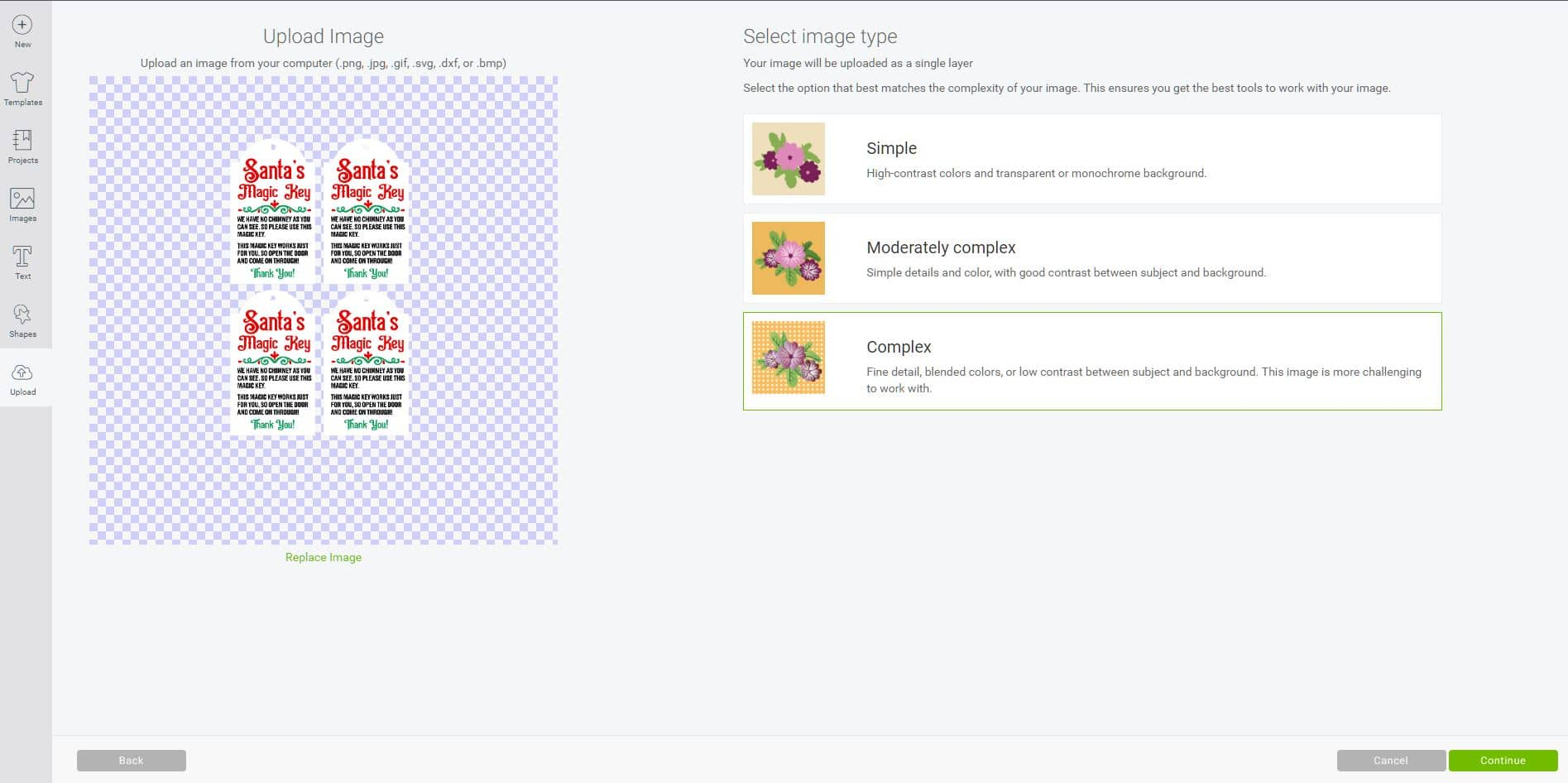 Cricut Design Space software screenshot showing the process of uploading the Santa's Magic Key printable tags file