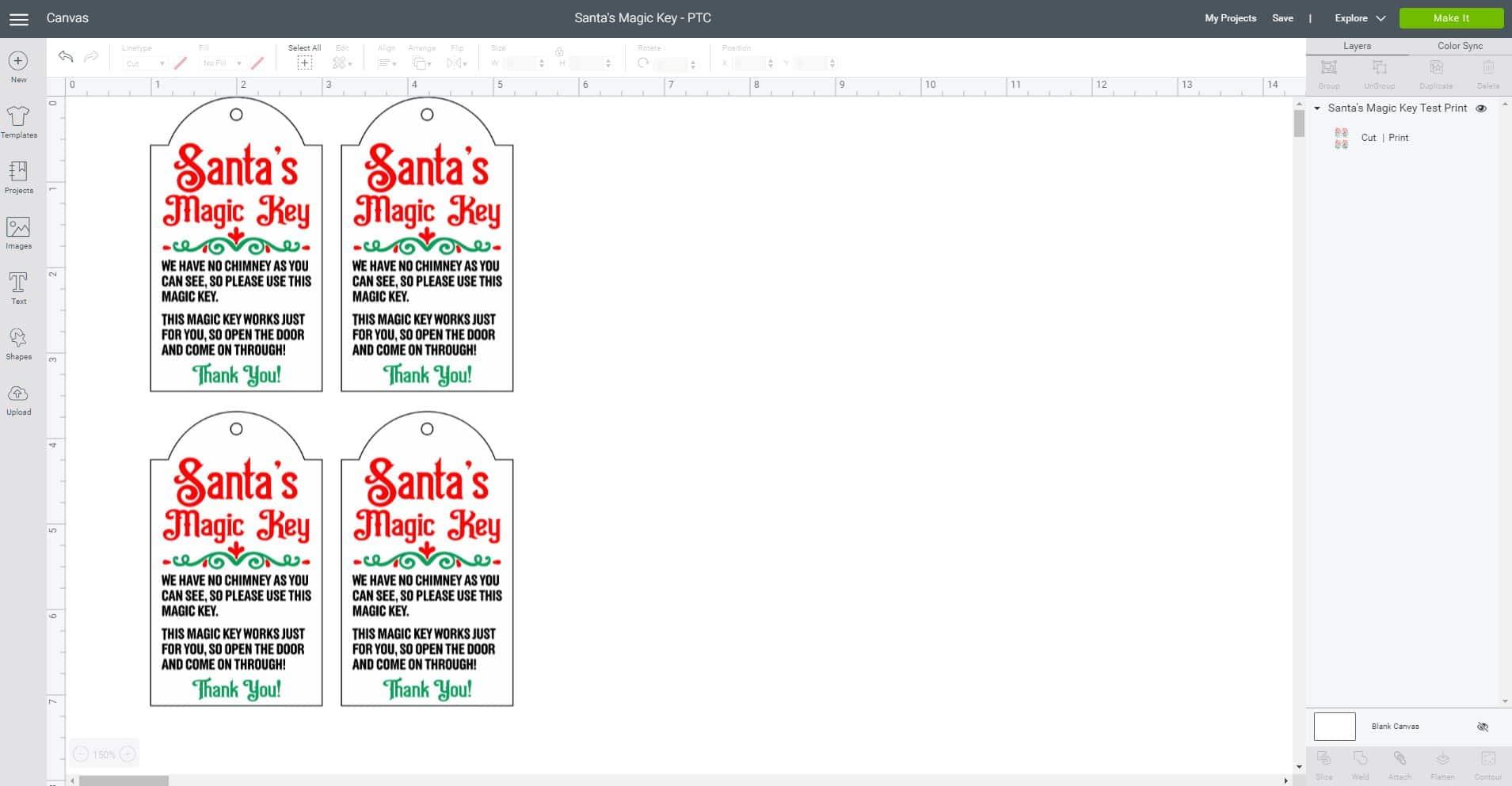 Cricut Design Space software screenshot with Santa's Magic Key Print Then Cut design