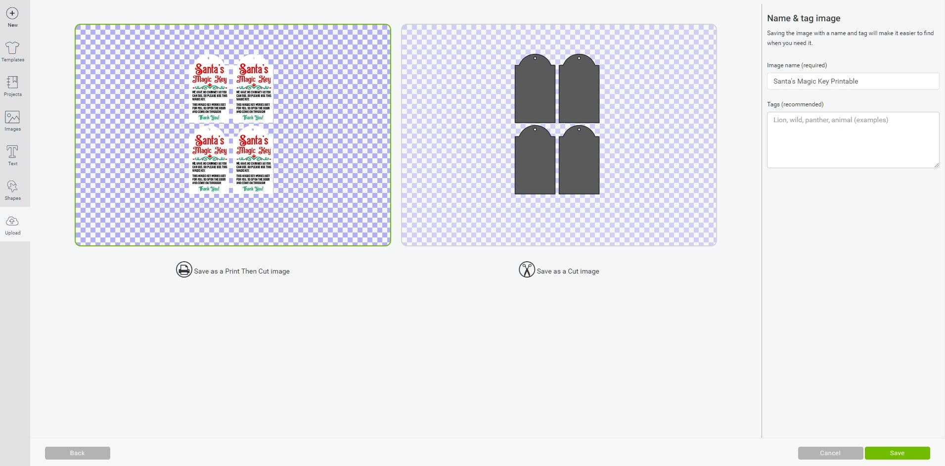 Cricut Design Space software screenshot of tags being saved as a Print Then Cut image