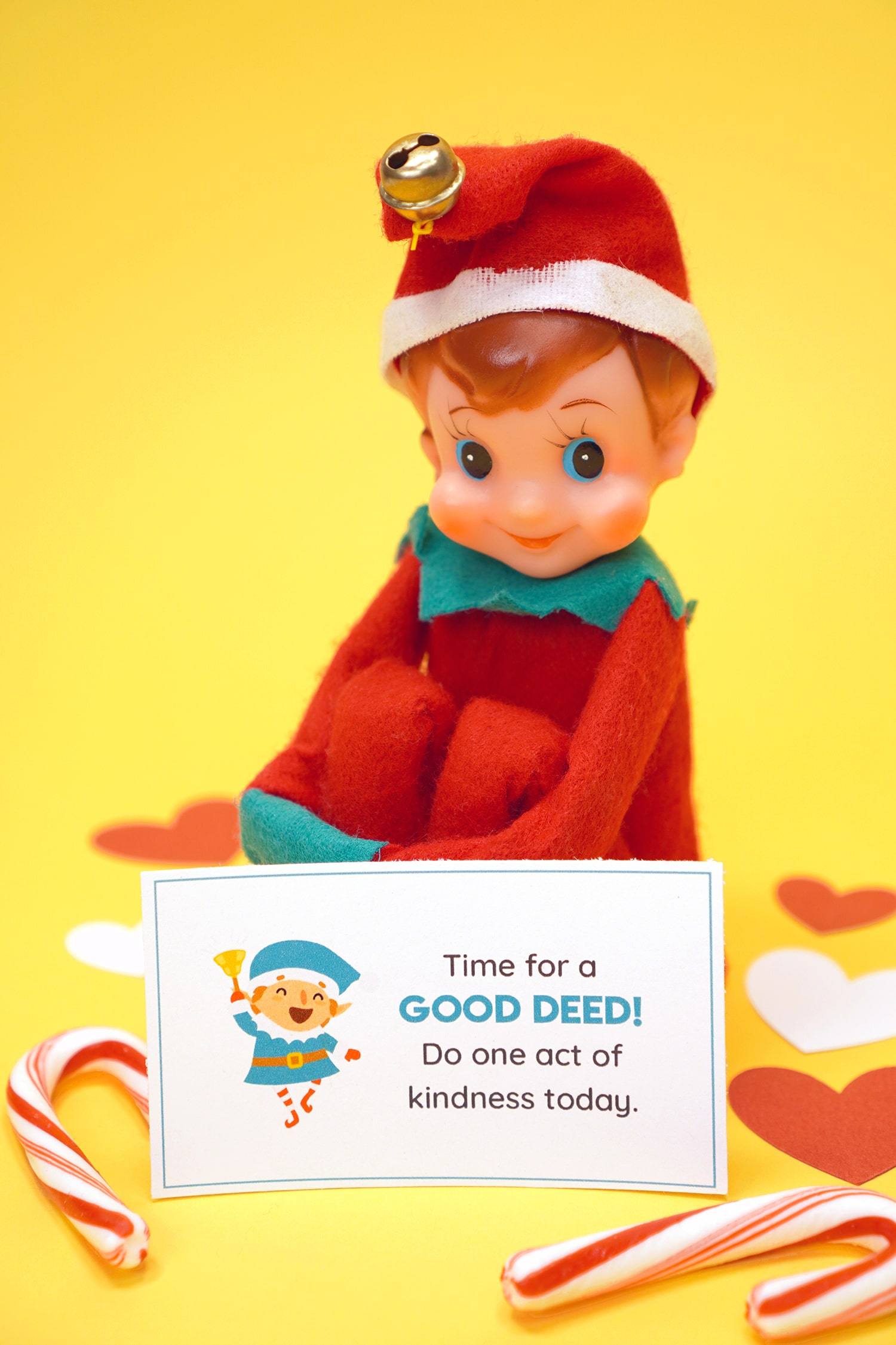 """Vintage Elf on the Shelf with printed """"Time for a Good Deed"""" Note Card on yellow background"""