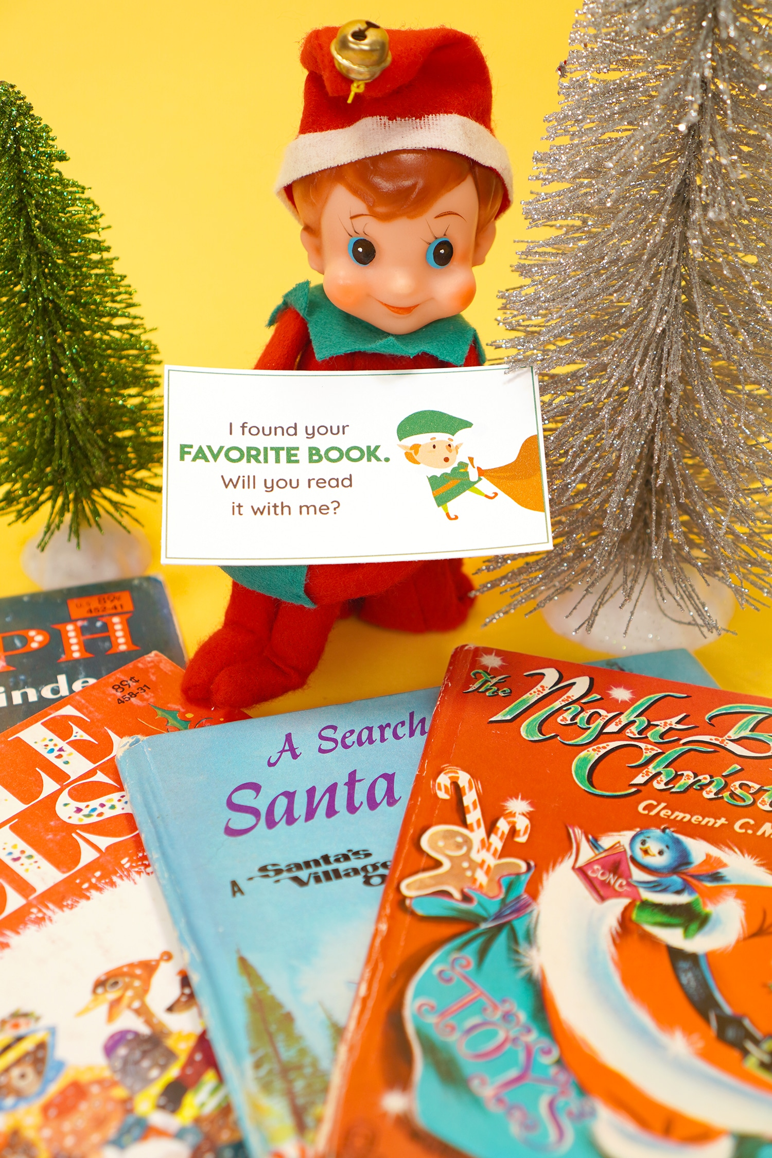 Vintage Elf on the Shelf with Vintage Christmas books, glitter sisal trees, and printable Elf on the Shelf note card
