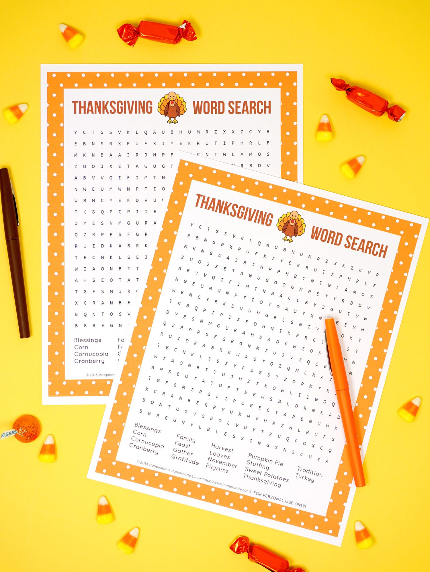 Thanksgiving Word Search Printable - Happiness is Homemade