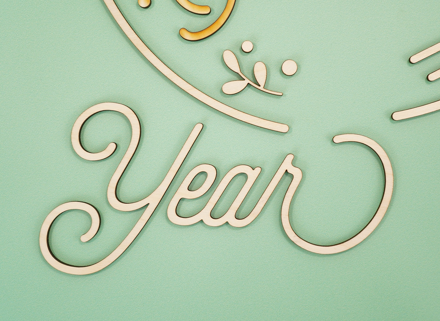 "Glowforge Cut Wood Pieces for 3D Layered Sign ""Year"""