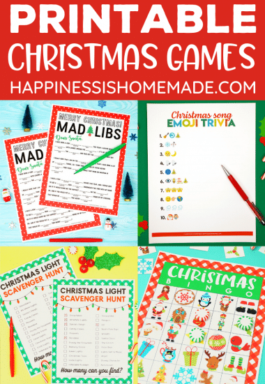 """Free Printable Christmas Games"" Graphic - collage of games"