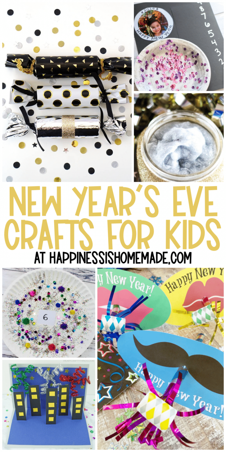 Collage of New Year's Eve crafts for kids