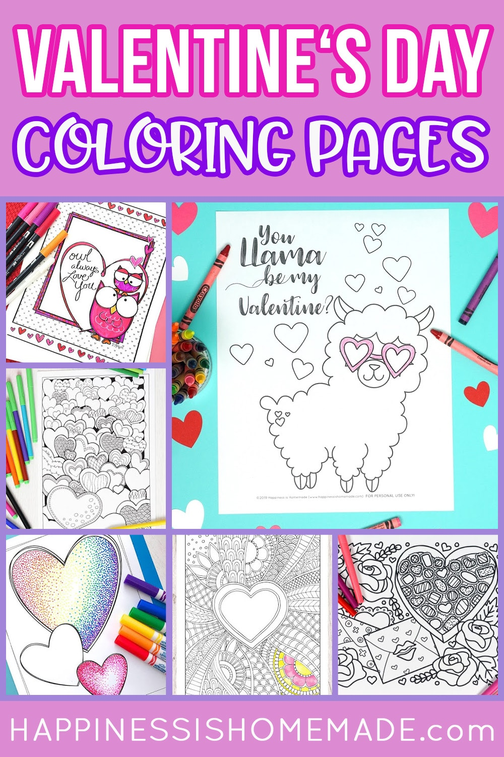 """Collage of free printable valentine coloring pages - six coloring sheets and """"Valentine's Day Coloring Pages"""" text on purple background"""