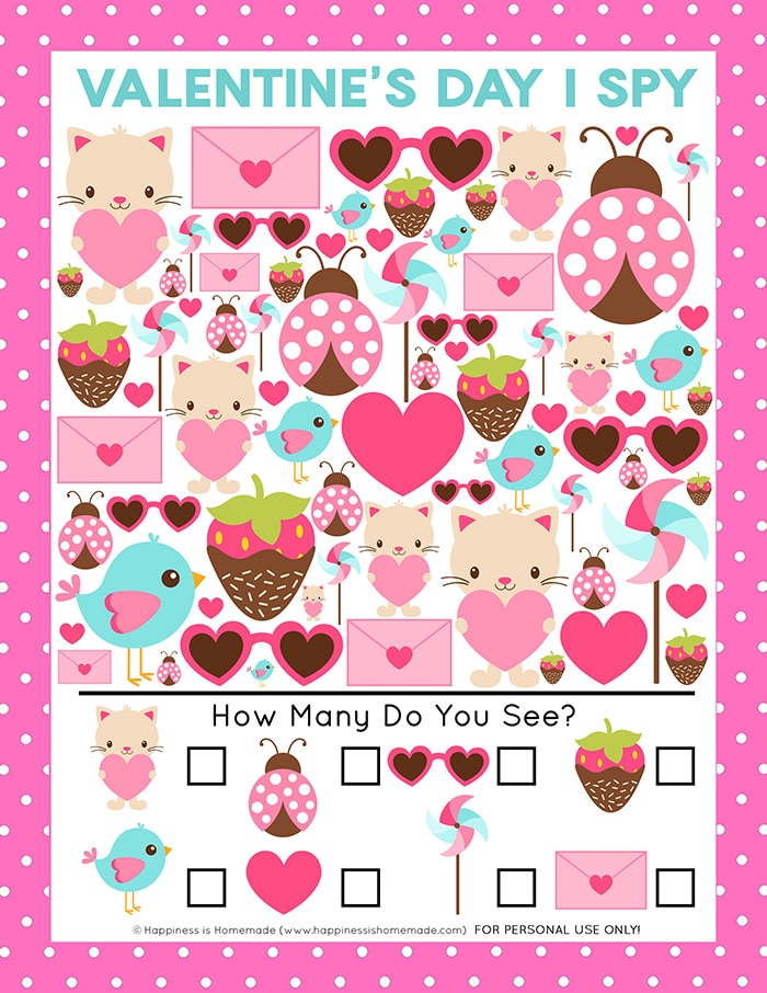 Valentine's Day I Spy Game for Kids - graphic of printable game