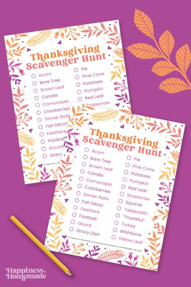 Two Thanksgiving Scavenger Hunt printable games on a purple colored background with a yellow pencil and orange leaves