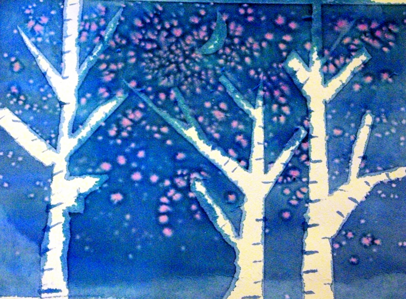 Kids art watercolor winter trees happiness is homemade for Simple watercolor paintings for kids