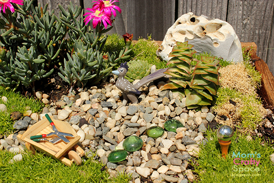 Fairy Garden Stepping Stones Make your own fairy garden happiness is homemade the boys rock desert has its own silver gazing ball glass gem stepping stones a roadrunner and a wheelbarrow full of garden tools workwithnaturefo