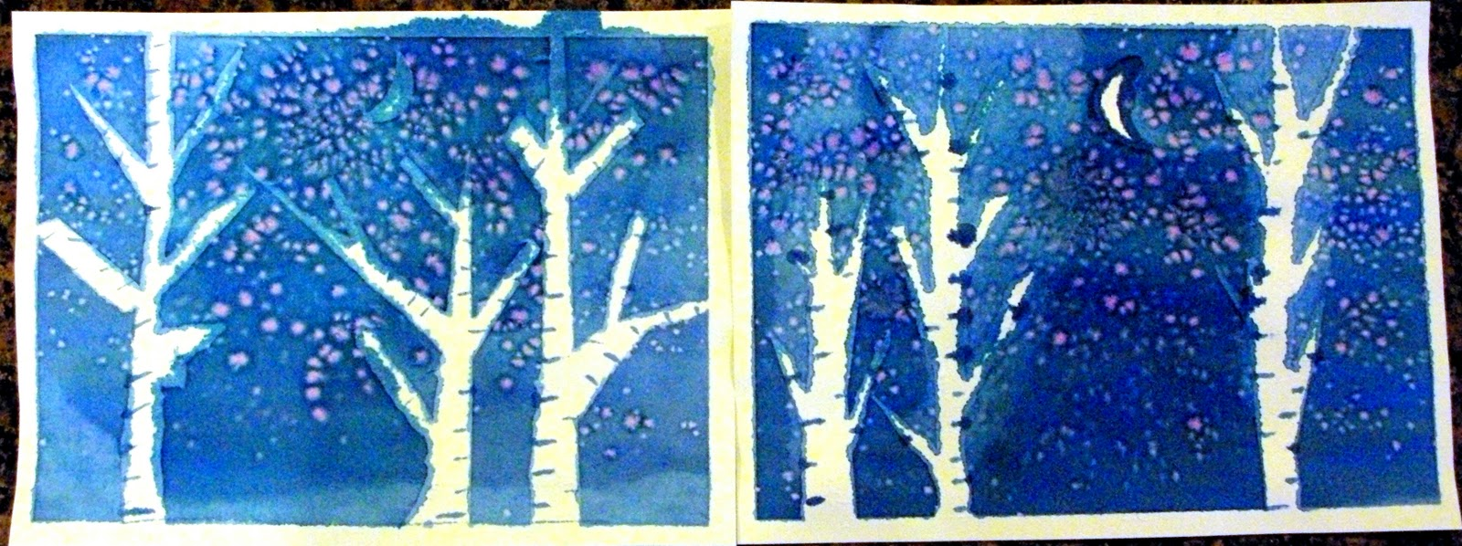 Kids art watercolor winter trees happiness is homemade Fun painting ideas for toddlers